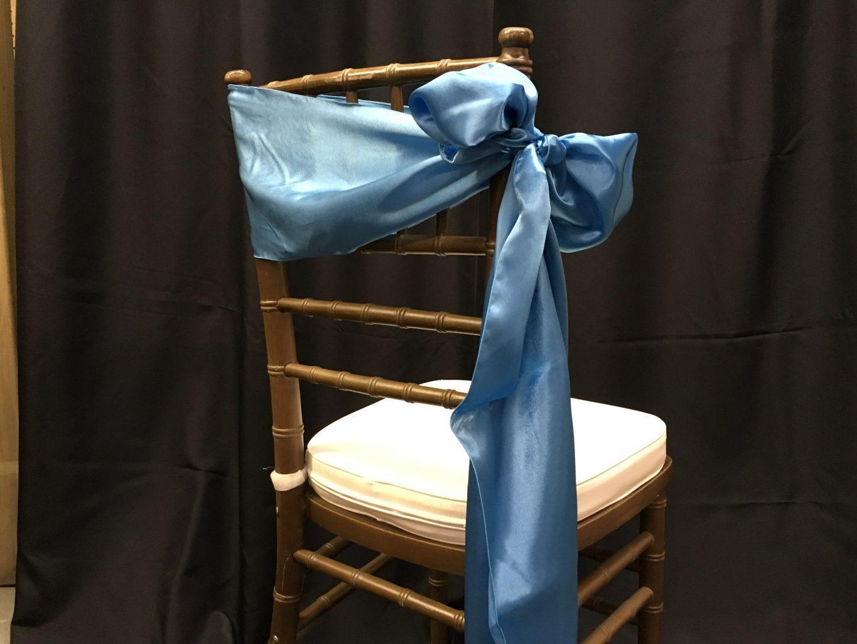 Malibu Blue Bridal Satin Chair Sashes