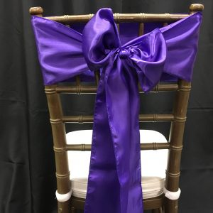 Purple Bridal Satin Chair Sashes